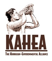 KAHEA logo in brown with illustration by Uncle Herb Kane.