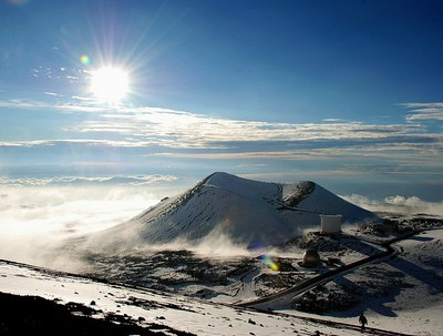 Pu`u on Mauna Kea, covered in snow.